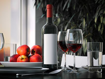 Table setting with red wine. 3d rendering Stock Image