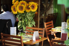 Table setting at a restaurant stock photography