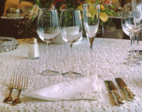 Table setting at a restaurant. Royalty Free Stock Photo