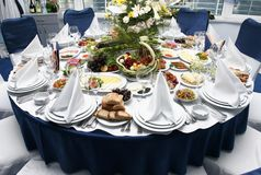 Table setting in restaurant Stock Photos