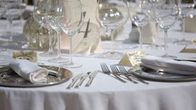 Table setting in a restaurant stock video footage