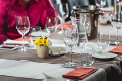 Table setting in a restaurant. Day light stock images