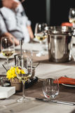 Table setting in a restaurant. Day light royalty free stock photo