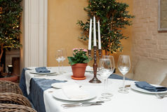 Table setting in a restaurant Stock Photo