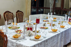 Table setting in restaurant Royalty Free Stock Image