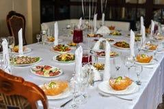 Table setting in restaurant Stock Photo