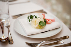 Table setting in restaurant interior Royalty Free Stock Images