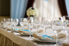 Table setting,restaurant serving,restaurant interior,empty glass Royalty Free Stock Image