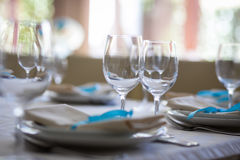 Table setting,restaurant serving,restaurant interior,empty glass Stock Photos