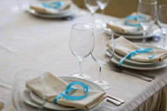 Table setting,restaurant serving,restaurant interior,empty glass Royalty Free Stock Photos