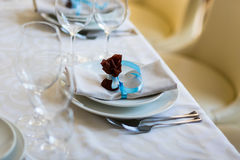Table setting,restaurant serving,restaurant interior,empty glass Royalty Free Stock Photography
