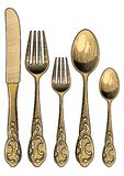 Table setting. Retro spoons, forks and a table knife. TTable setting. Retro spoons, forks and a table knife.Vintage stylized drawing of cutlery set. Vector stock illustration