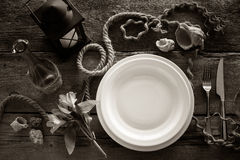 Table setting in retro style, top view. Stock Images