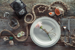 Table setting in retro style, top view. Royalty Free Stock Photo