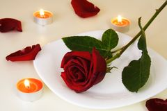 Table Setting for Romantic Candlelight Dinner. Table Setting with Rose for Romantic Candlelight Dinner Royalty Free Stock Photos