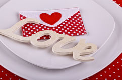 Table setting for romantic Valentine's dinner Royalty Free Stock Photos