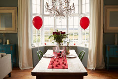 Table Setting For Romantic Valentines Day Meal Stock Photos