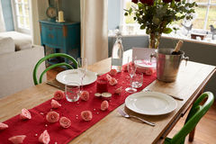 Table Setting For Romantic Valentines Day Meal Stock Photography