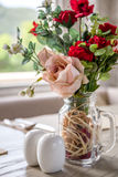 Table Setting with Rose in Cafe Royalty Free Stock Photo
