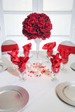 Table setting with roses Royalty Free Stock Image