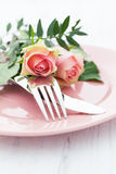 Table setting with roses Stock Image