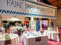Table setting at Salon du Marriage wedding fair France Stock Images