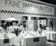 Table setting at Salon du Marriage wedding fair France Stock Photos