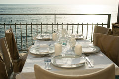 Table setting by the sea Stock Image