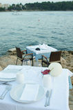 Table setting by the sea Stock Photography