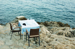 Table setting by the sea Stock Images