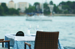 Table setting by the sea Royalty Free Stock Photo