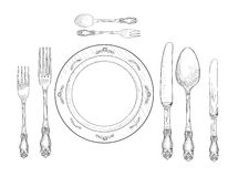 Table setting set. Fork, Knife, Spoon, plate sketch set. Cutlery. Hand drawing collection. Catering engraved illustration. Restraunt service. Banquet still life vector illustration