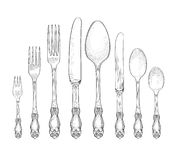 Table setting set. Fork, Knife, Spoon sketch set. Cutlery hand. Drawing collection. Catering engraved illustration. Restraunt service. Banquet still life royalty free illustration
