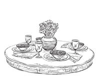 Table setting set. Weekend breakfast or dinner. Hand drawn dishes sketch royalty free illustration