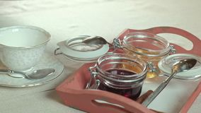 Table setting, side view stock video footage