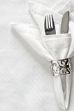 Table setting with silver napkin ring Stock Photos
