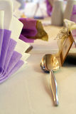 Table setting and silver spoon Stock Images