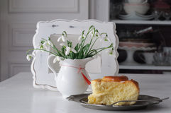 Table Setting with Snowdrops Royalty Free Stock Images