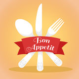 Table setting.spoon fork knife vector icon. Royalty Free Stock Photo