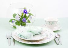 Table setting spring, Aqua stock photo