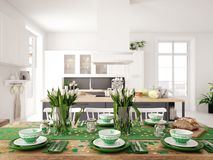 Table setting for St Patricks Day. holiday concept. 3d rendering Royalty Free Stock Photography