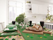 Table setting for St Patricks Day. holiday concept. 3d rendering. Table setting for St Patricks Day. 3d rendering Stock Photography