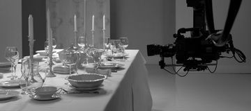 Table setting in the studio. Shooting how to lay the table royalty free stock image