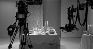 Table setting in the studio. Shooting how to lay the table royalty free stock images