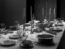 Table setting in the studio. Shooting how to lay the table royalty free stock photography