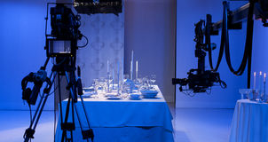 Table setting in the studio. Shooting how to lay the table royalty free stock photo