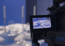 Table setting in the studio. Shooting how to lay the table stock photography