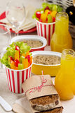 Table setting for a summer picnic - vegetables, juice, pate and Stock Photography