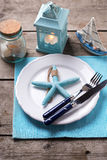 Table setting for summer, sea theme. Blue and white. Royalty Free Stock Photo