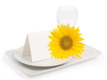 Table setting with sunflower Royalty Free Stock Image